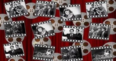 cartaz com cenas de filmes antigos em preto e branco