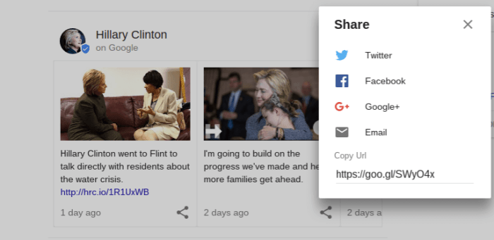 Google Posts Sharing Options