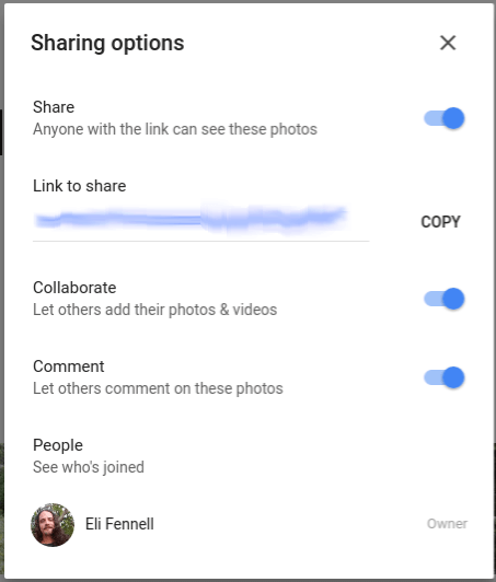 Google Photos Shared Album Settings