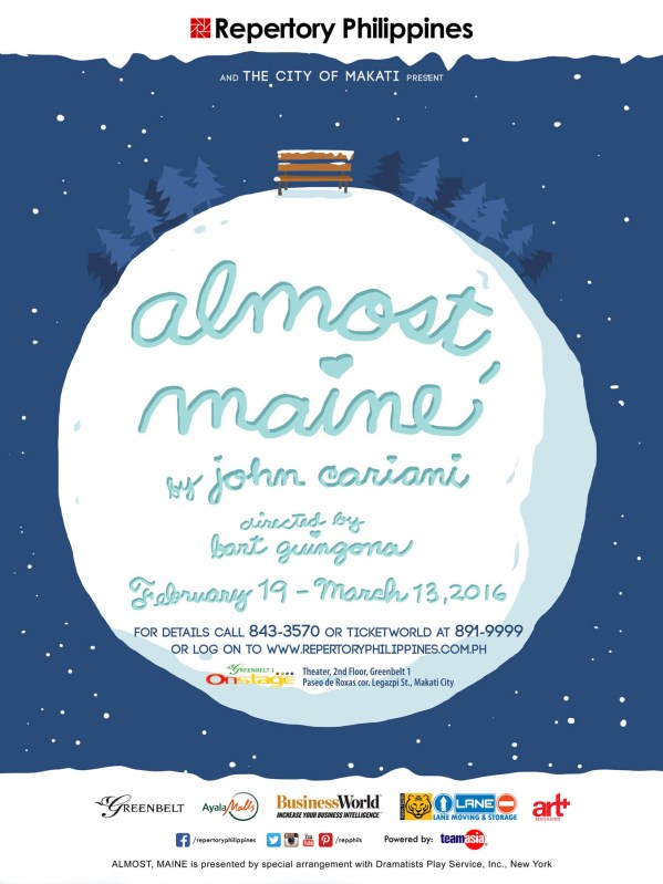 "Almost, Maine is Repertory's Valentine's offering, with a series of stories on the residents of the little town Almost, where the residents fall in and out of love in unusual ways. The New York Times has described it as a ""higher-concept and more clever version of Hollywood [love stories]"" with a ""beautiful structure."""