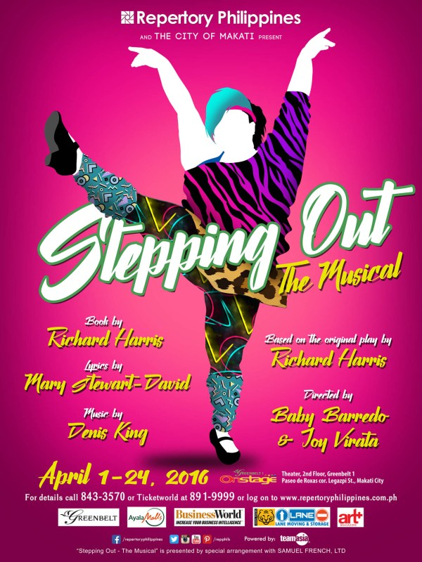Stepping Out will star Bituin Escalante, Cara Barredo, David Shawn Delgado, Sheila Francisco, Sheila Valderrama-Martinez, and Sweet Plantado Tiongson as members of a dance class trying to learn the basics of tap while developing friendships. Stepping Out was awarded Best Comedy at the London Evening Standard Theatre Awards, organized by notable British critics and editors.
