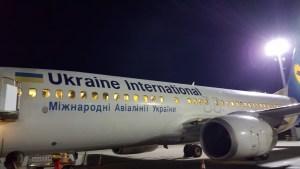 Ukraine International Airlines by night