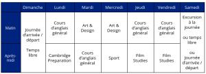 Emploi du Temps : Scolarité : Formation + Cours d'Anglais