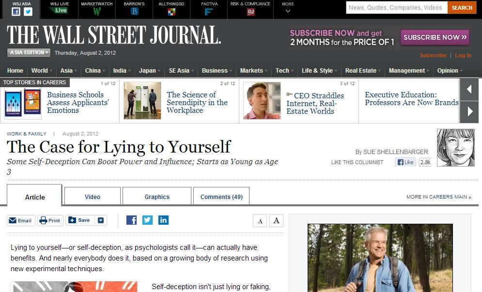 The Case for lying to yourself_wsj