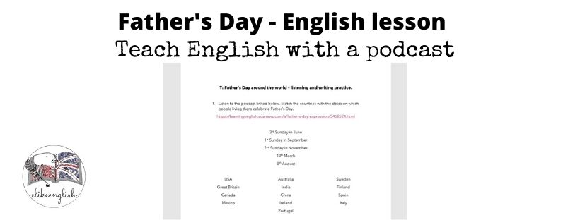 Father's Day English lesson material.