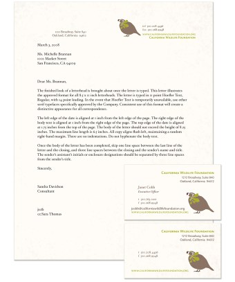 California Wildlife Foundation stationery
