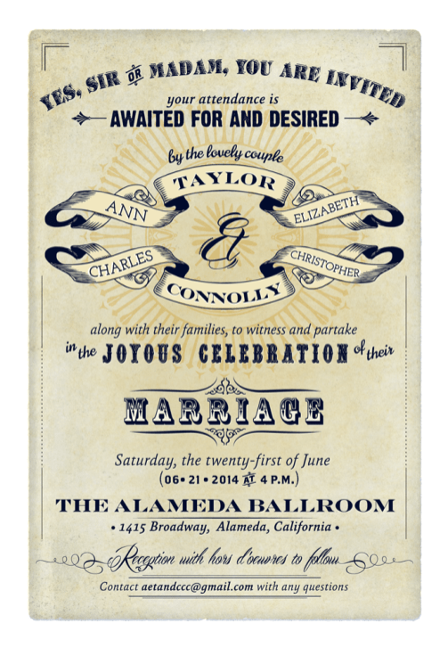 Victorian inspired wedding invitation