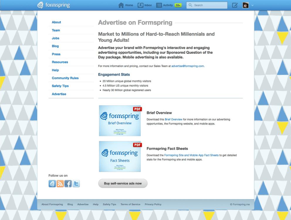formspring.me Advertising