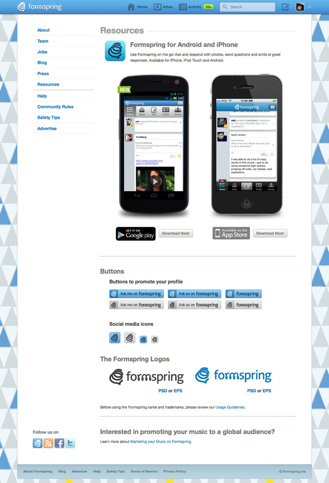Formspring.me Mobile Resources