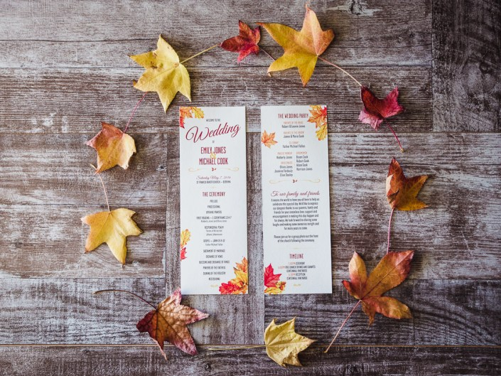 Autumn Leaves Rustic Country Wedding Stationary