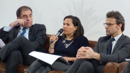 De izq. a der., Jaime Montalvo, de Invest in Spain; Sandra Daza, directora de Gesvalt; y Julien Sausset, director de MIPIM.