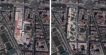 A la izq., vista actual del solar, y a la der., el proyecto de regeneración de las cocheras de metro de Chamberí.