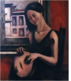 La musicista (memorie della stanza rossa)_olio su tela_60x80_2004