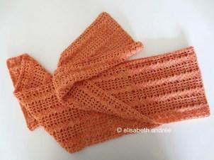 filet crochet scarf finished