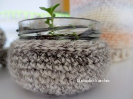 mini jar and it's crochet sweater