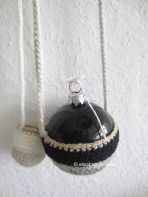 black and white crochet and baubles
