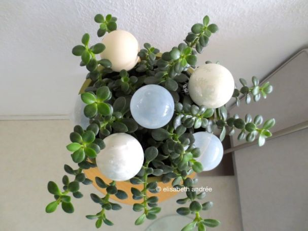 green with white baubles