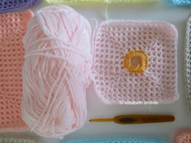 another lacy with dot square: soft pink
