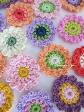 crocheted little flowers
