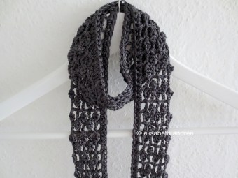 crochet anthracite lacy summer scarf