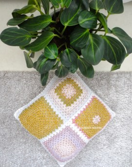 mustard yellow with lilac cushion cover side 2