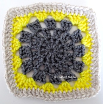 anthracite, yellow and greige square