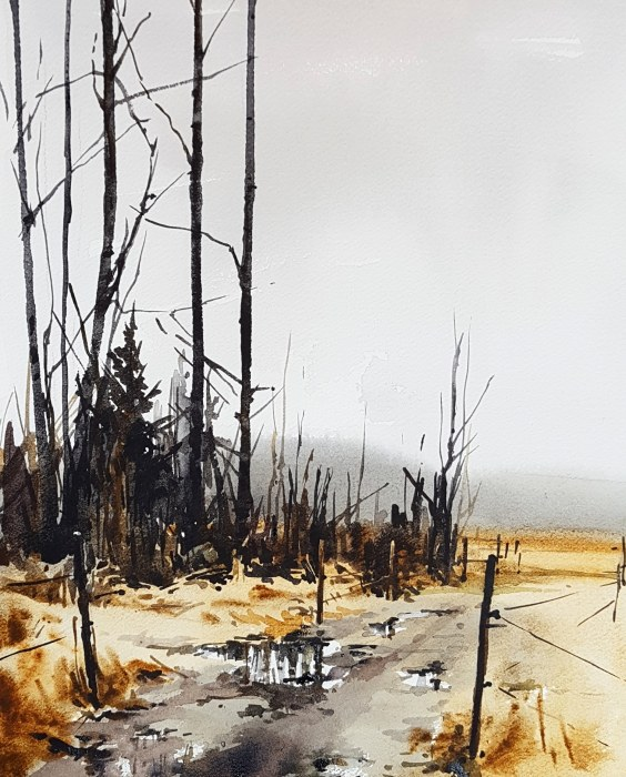 """Januariljus"", akvarell av Elisabeth Biström 2018"