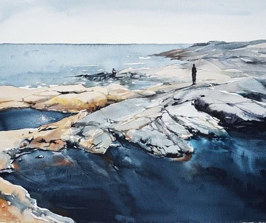 """""""Bråddjup"""", akvarell av Elisabeth Biström 2018"""