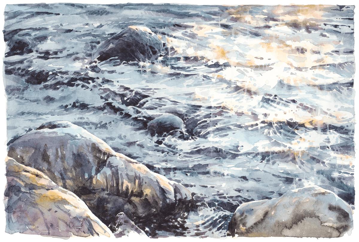 """""""Nattsol på havet"""" av Elisabeth Biström, gicléetryck utifrån original i akvarell"""