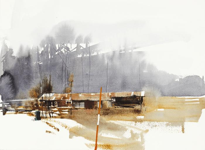 "Elisabeth Biström, akvarell ""Oretuscherad tillvaro"""