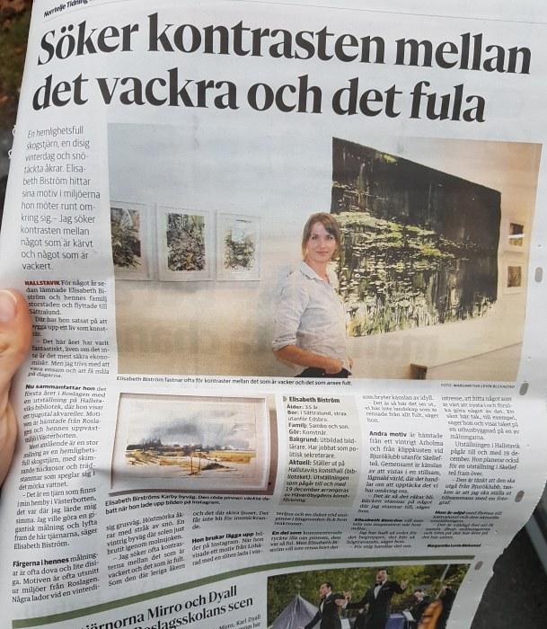 Reportage i Norrtelje tidning om Elisabeth Biströms utställning på Hallstaviks konsthall