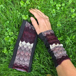 Wrist Warmers Purple White Lace