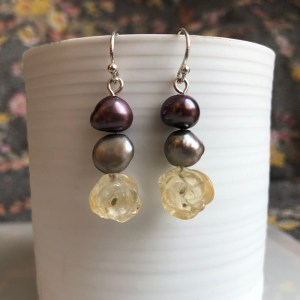 Earrings Citrine Rose