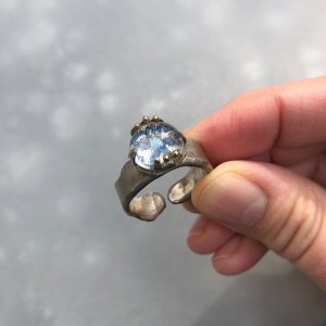 Ring Blue Flower With Embroidery