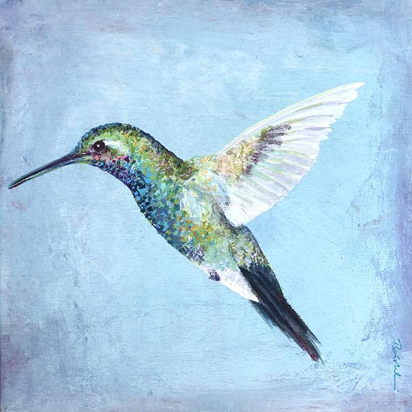 Hummingbird on light blue