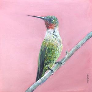 hummingbird green on peach