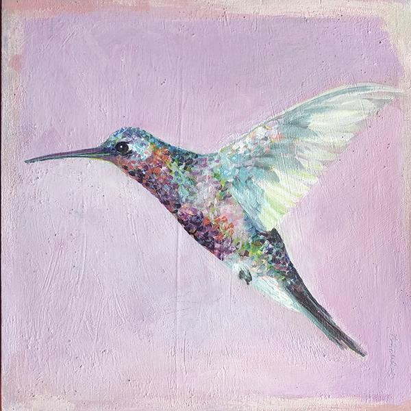 hummingbird on cold pink