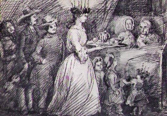 Lucia ska enligt legenden ha satt en ljuskrona på huvudet för att kunna se bättre när hon i hemlighet bar ner mat till de arma fångarna i stadens fängelsehålor. Bild: Wikipedia