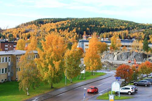 En mindre villa totalförstördes vid en anlagd brand på Industrivägen i Kramfors. Bild: mapio.net