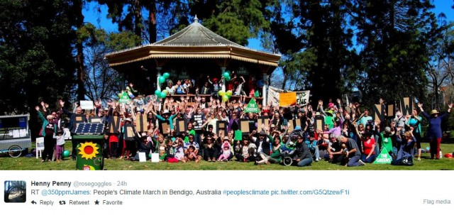 """Photo People's Climate March: Crowd at park in Bendigo, Australia."