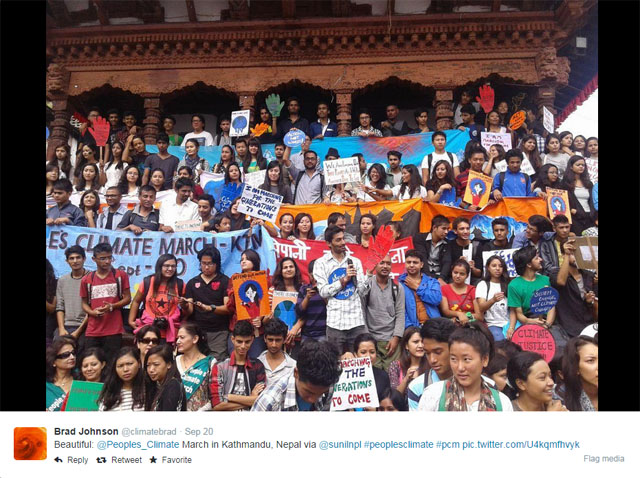 """Photo People's Climate March: Crowd in Katmandu, Nepal."
