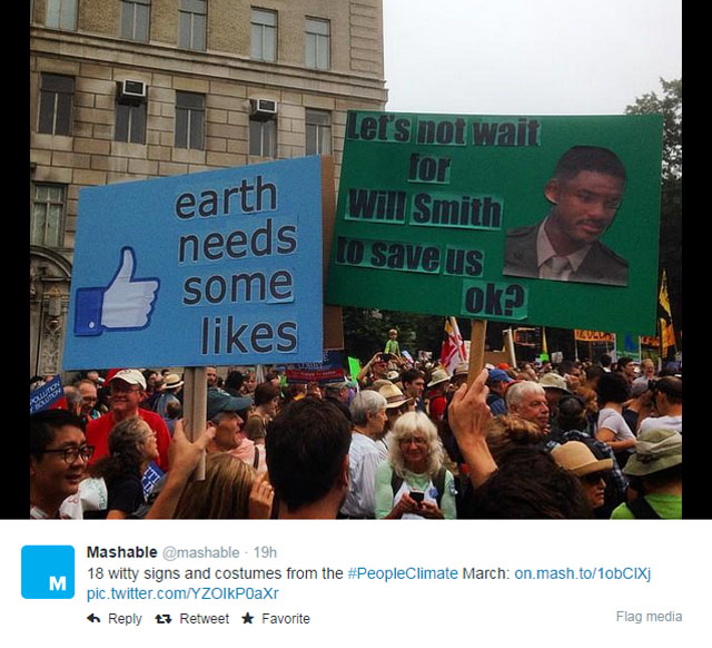 Photos: People's Climate March NYC signs: Earth needs some likes; and Let's not wait for Will Smith to save us OK?