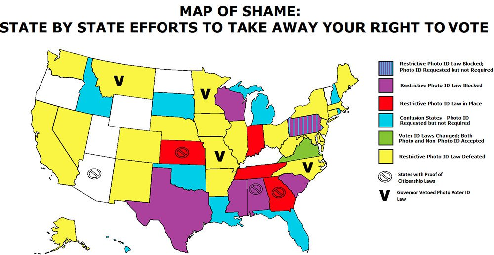 Map #9. Southernization of America: Voter ID laws by state.