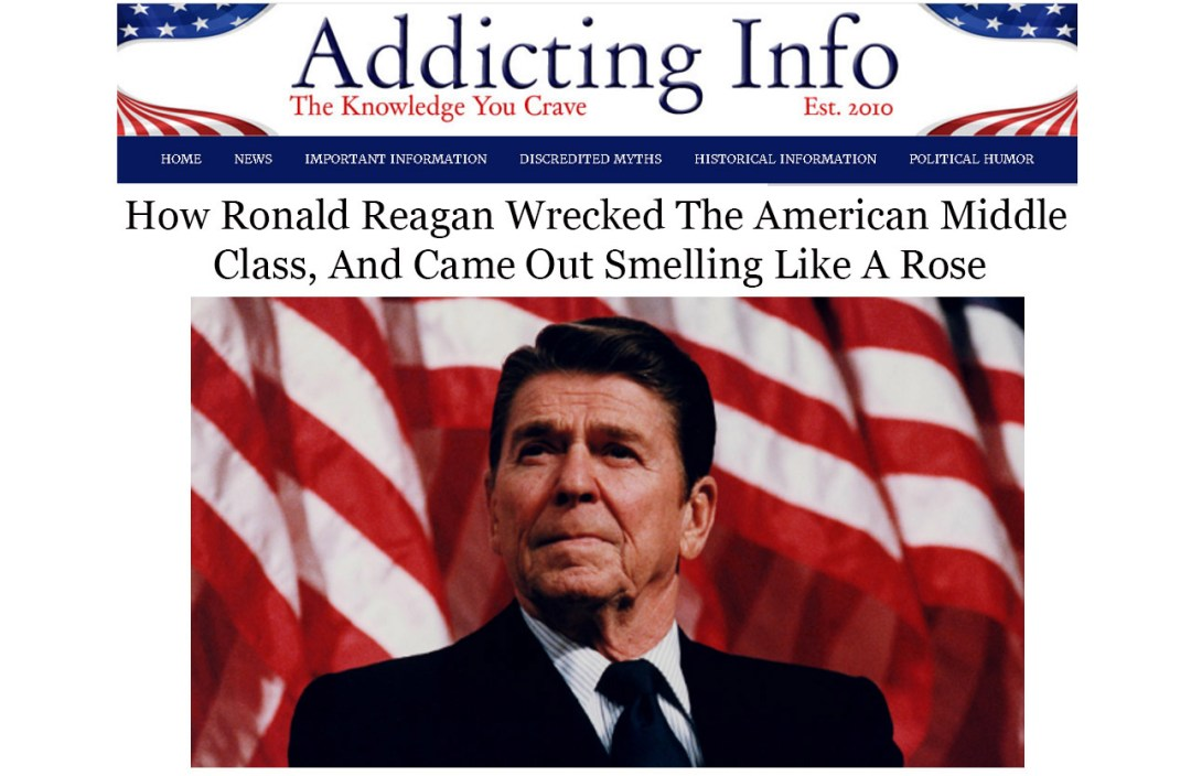 Screenshot of article about Ronald Reagan for Elisabeth Parker's portfolio/writing samples for news and politics.