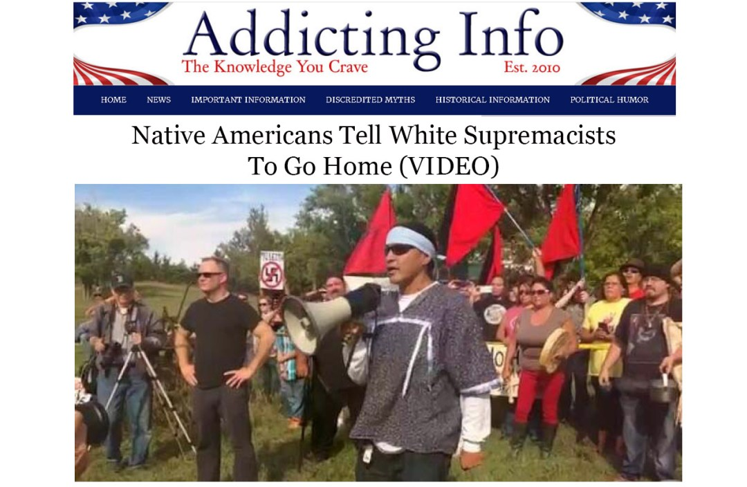 Screenshot of Native American protesters telling Craig Cobb and his racist friends to go home. Elisabeth Parker's writing sample for news and politics.