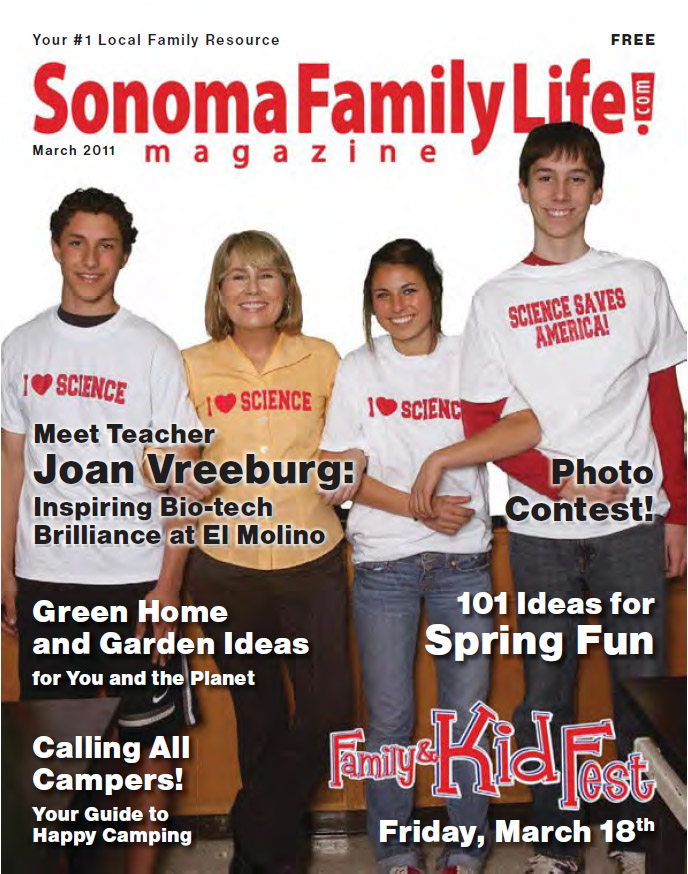 Sonoma Family Life Magazine cover, Calendar Editor, Elisabeth Parker Writing Samples, March 2011.