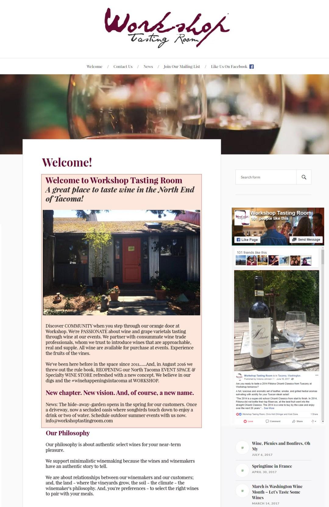 Workshop Tasting Room - front page - screenshot .