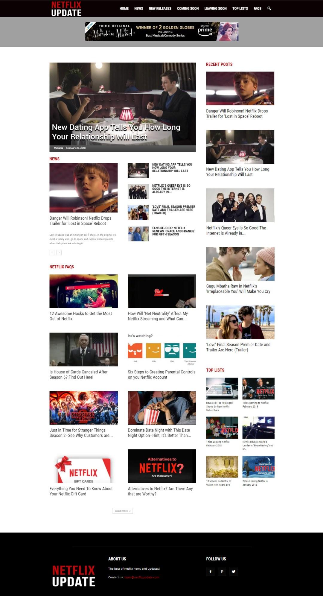 Screenshot of Netflix Update website - Elisabeth Parker's portfolio.