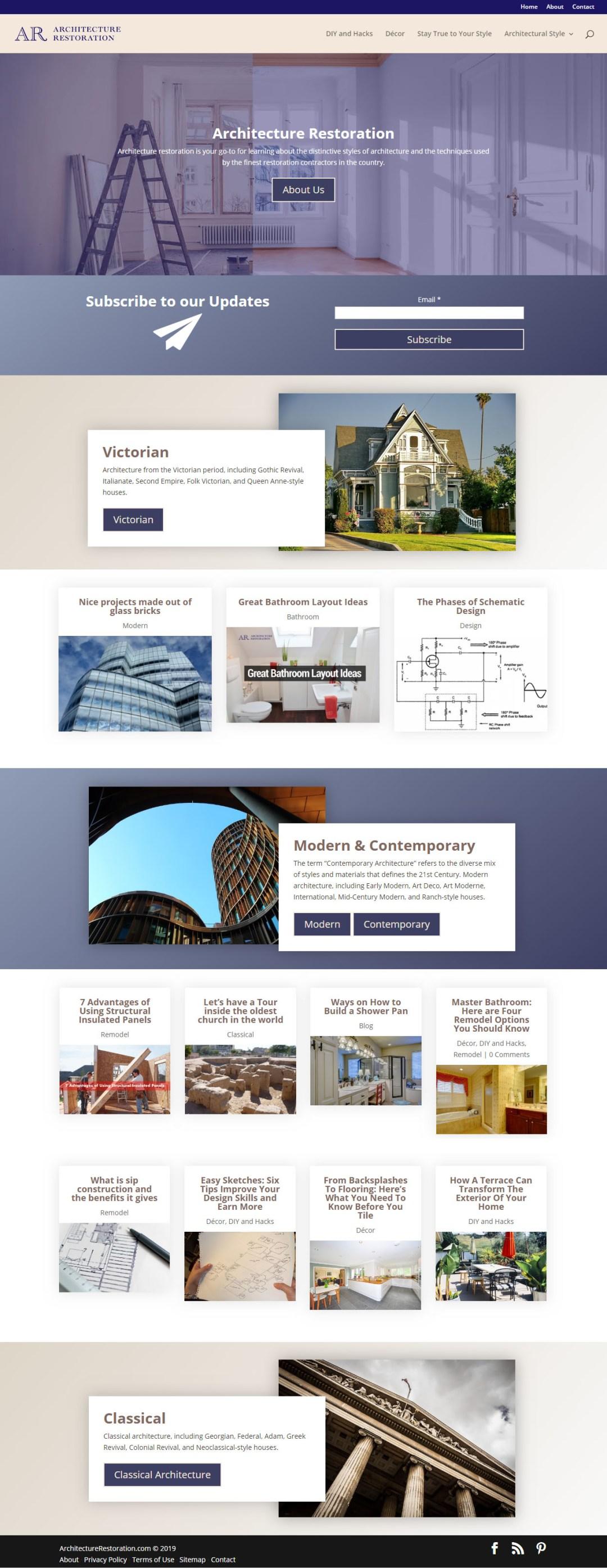 Architecture Restoration front page - screen shot - Elisabeth Parker's portfolio.