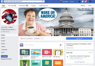 "2015 - Coffee Party - Facebook Cover Graphic. With photo of waitress standing in front of the US Capitol building with a cup of black coffee and saying, ""Wake up, America!"""